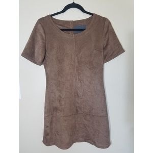 NWT Faux suede brown dress, Size small